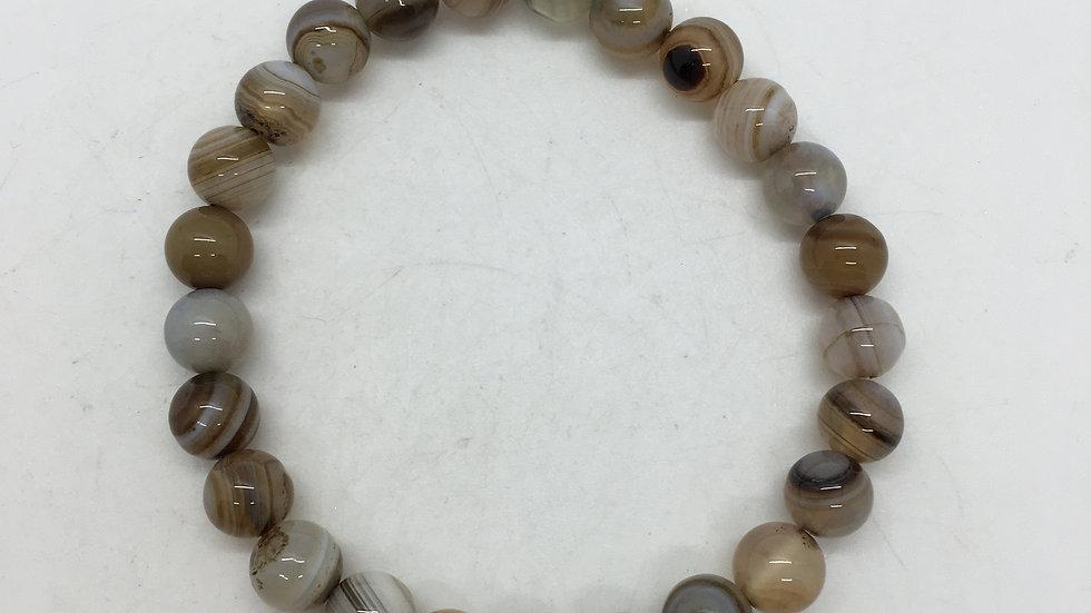 Banded Agate 8mm Bead Bracelet