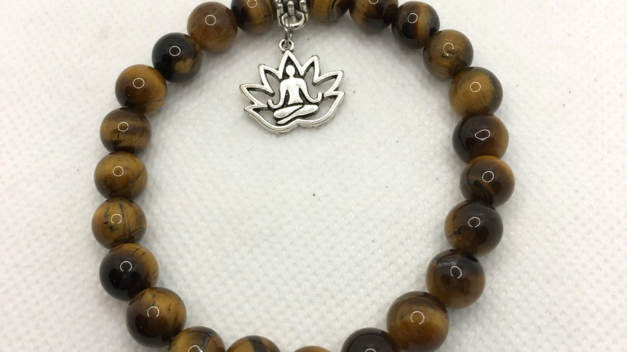 Golden Tiger Eye 8 mm Bead Bracelet with Buddha in Lotus Charm