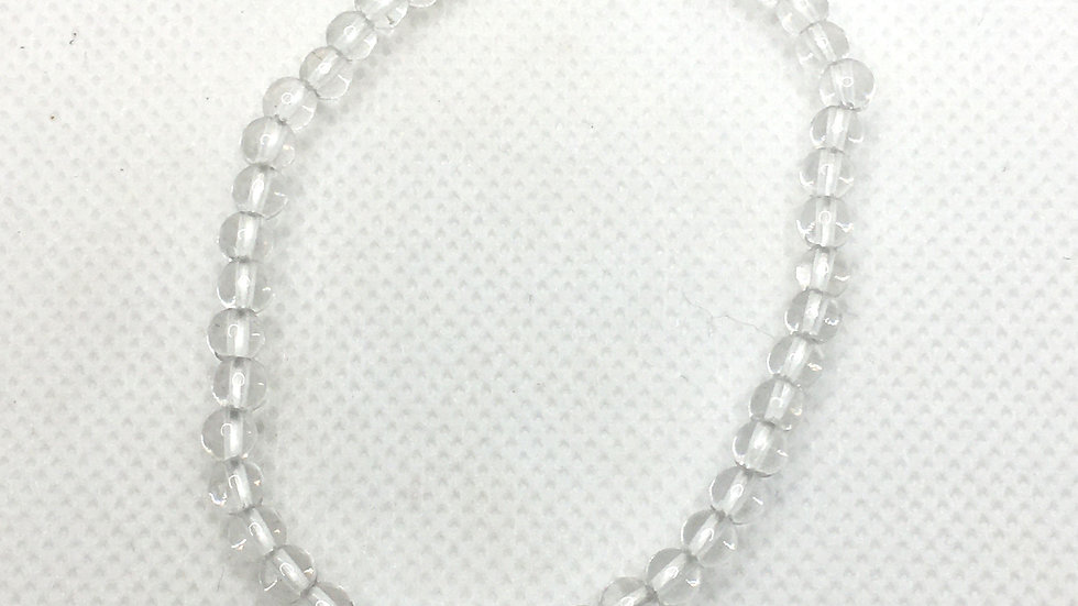Clear Quartz Bracelet with 4 mm Beads