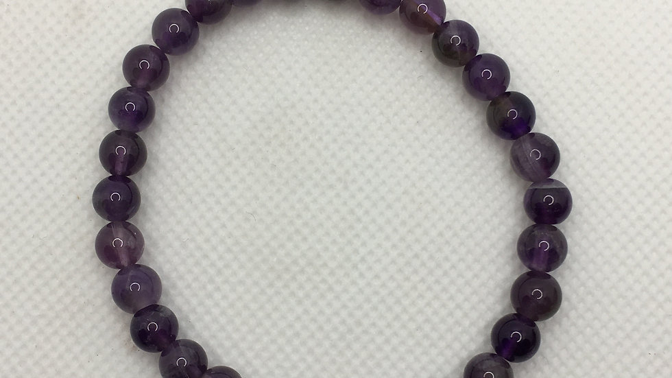 Amethyst Bracelet with 6 mm Beads
