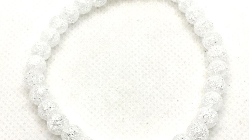 Clear Crackle Quartz Bracelet with 6 mm Beads