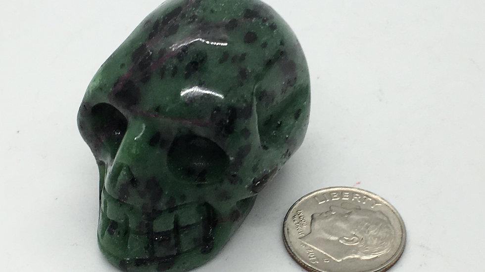 """Ruby in Zoisite 1 1/2"""" Skull"""