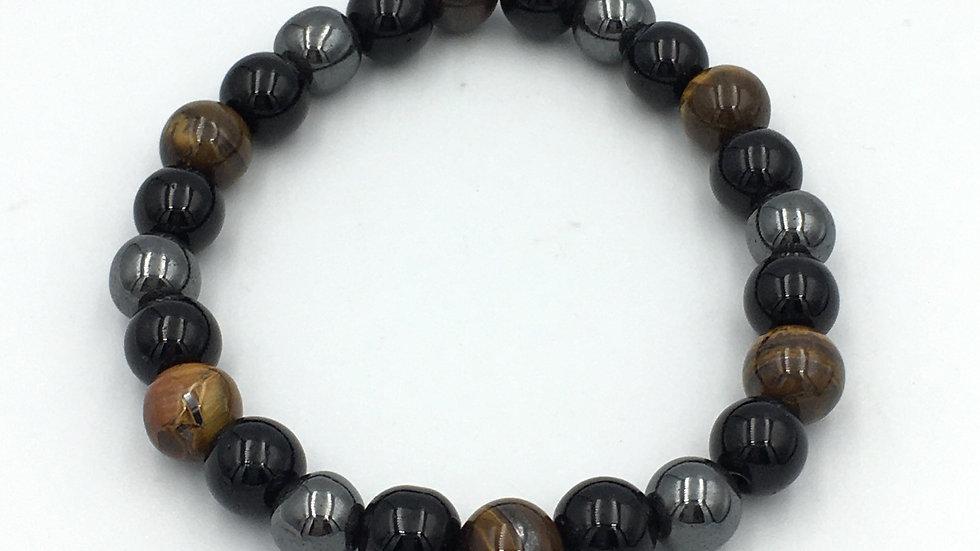 Black Obsidian, Hematite and Golden Tiger Eye Bracelet with 8 mm Beads