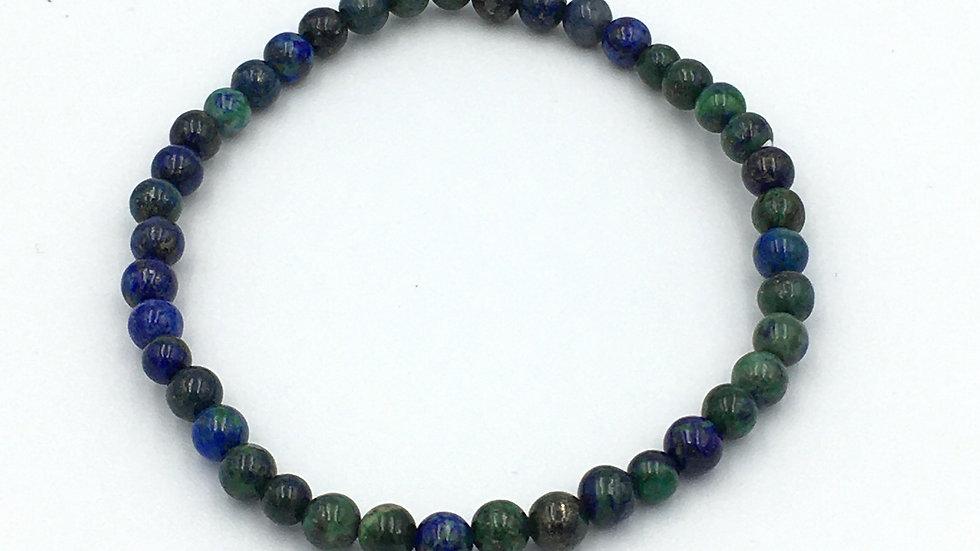Chrysocolla and Lapis Lazuli Mix Bracelet with 4 mm Beads