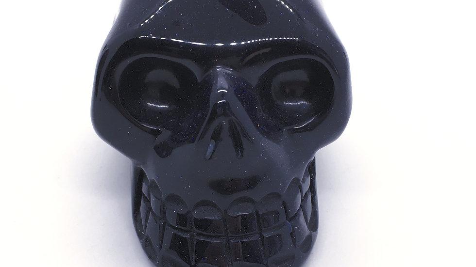 """Blue Goldstone 3 1/2""""Skull"""