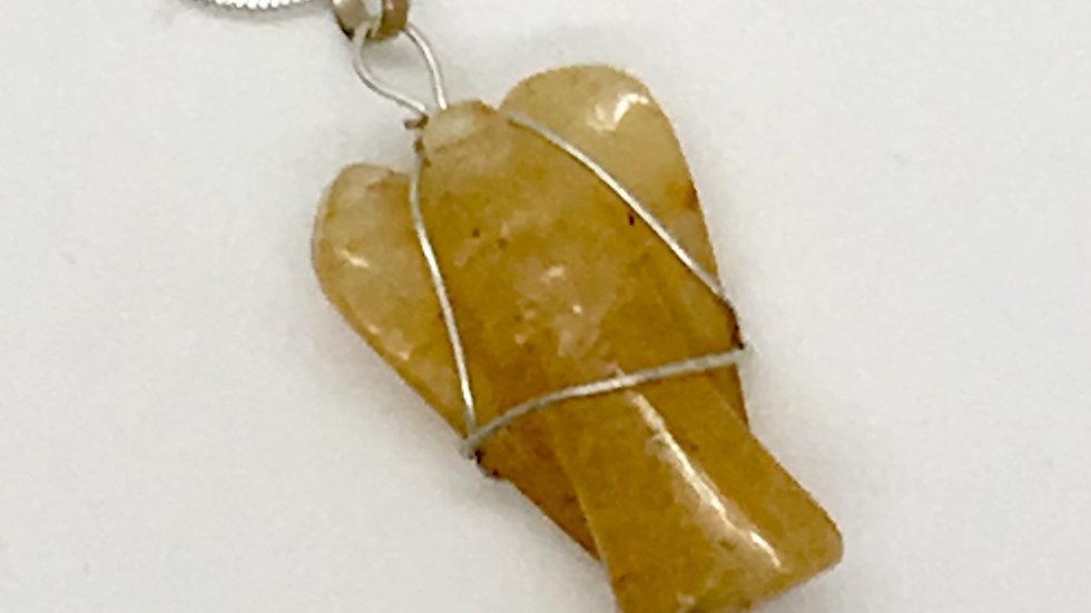 Golden Healer Quartz Wire Wrapped Angel Necklace