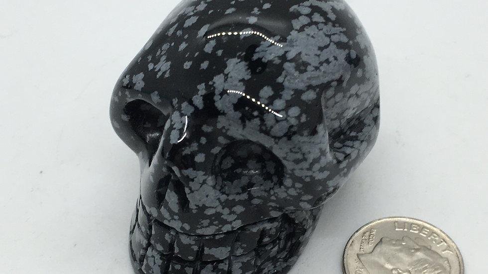 "Snowflake Obsidian 2"" Skull"