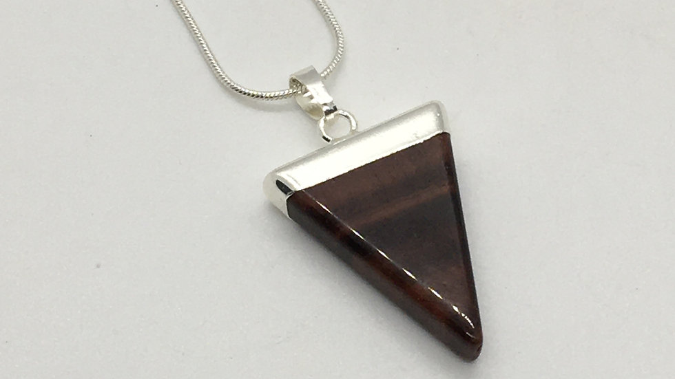 Red Tiger Eye Triangle Shaped Necklace
