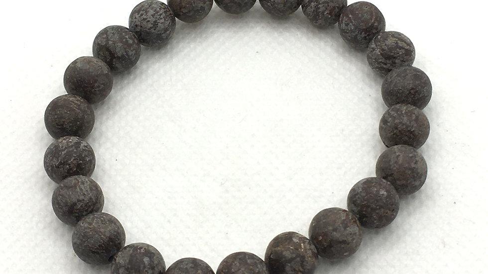 Brown Snowflake Jasper Bracelet with 8 mm Beads