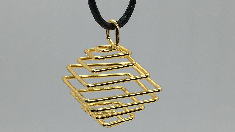 Square Gold Pendant Cage