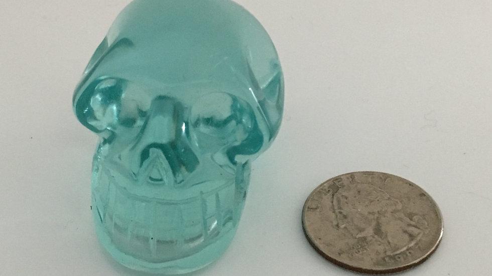 """Blue Aqua Obsidian 2"""" Skull"""