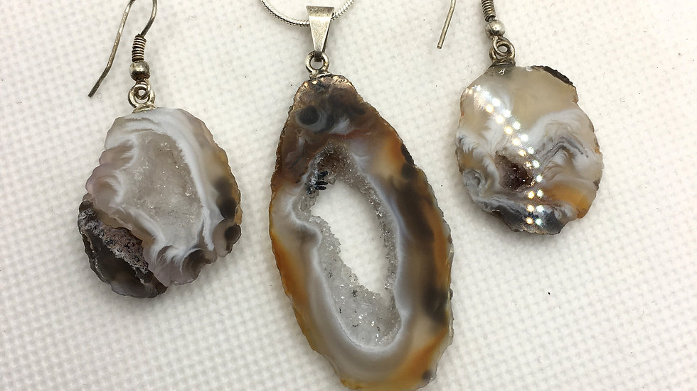 Geode Necklace and Earring Set