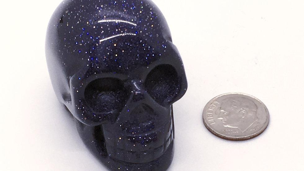 """Blue Goldstone 2"""" Skull"""