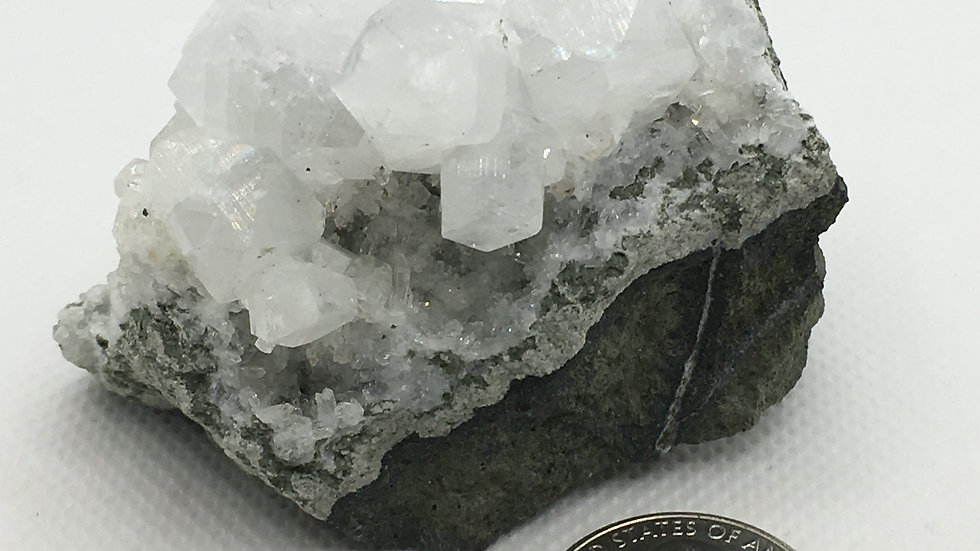 Apophyllite and Clear Quartz Cluster