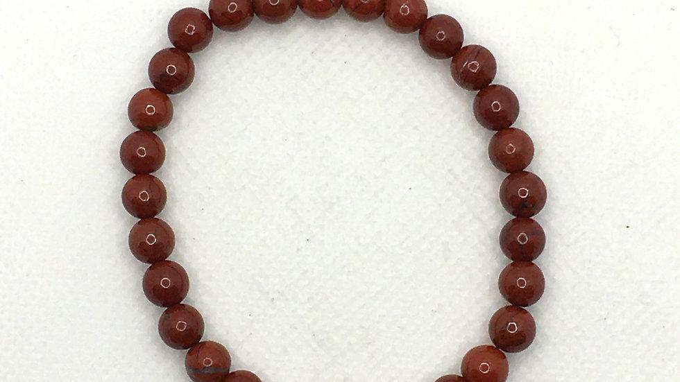 Red Jasper 6 mm Bead Bracelet
