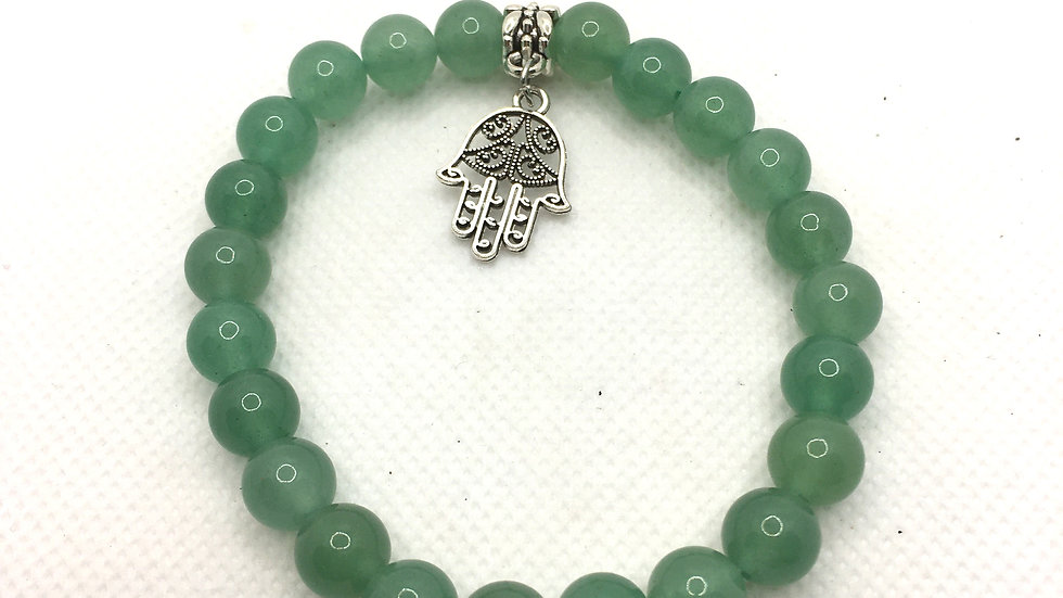 Green Aventurine 8 mm Bead Bracelet with Hamsa Hand Charm