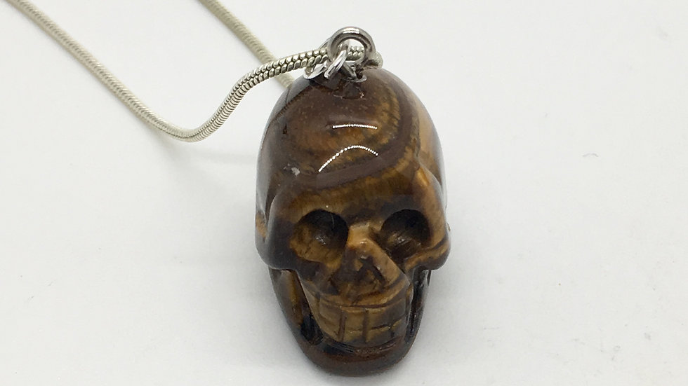 Golden Tiger Eye Skull Necklace