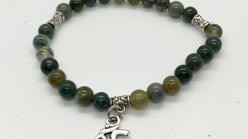 Moss Agate Bracelet with 6 mm Beads and Om Charm