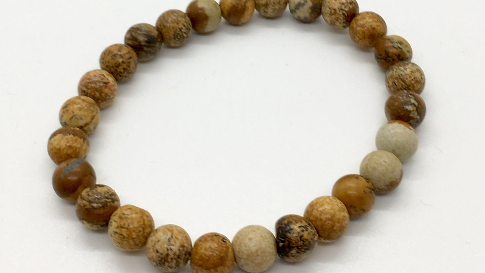 Picture Jasper Bracelet with 8 mm Beads