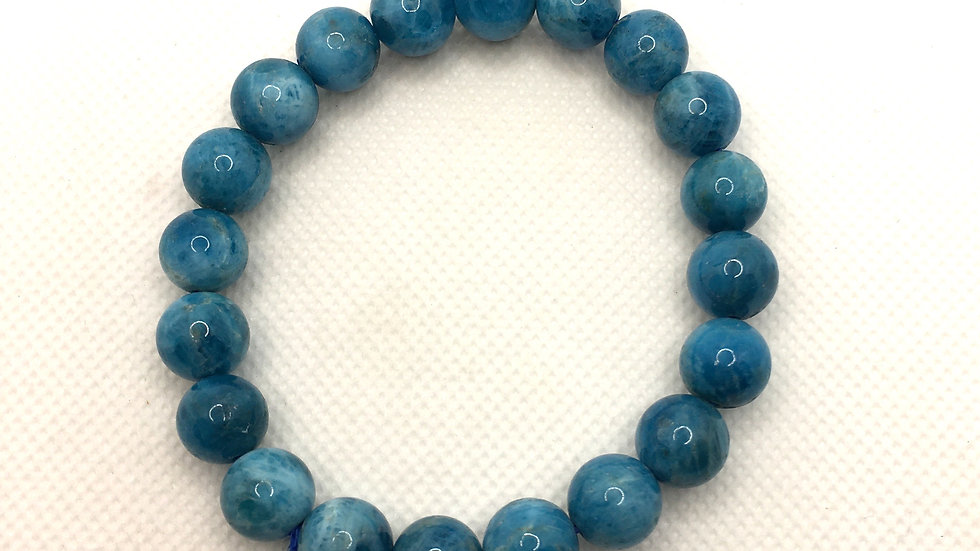Blue Apatite Bracelet with 10 mm beads