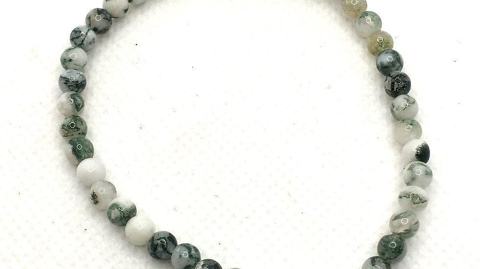 Green Tree Agate Bracelet with 4 mm Beads