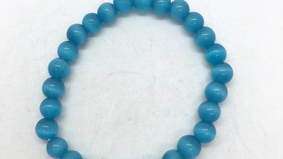 Blue Cat's Eye 8mm Bead Bracelet