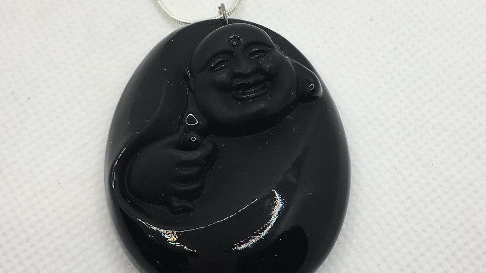 Black Obsidian Buddha Necklace