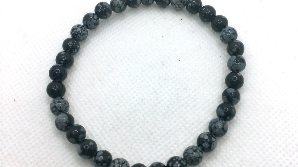 Snowflake Obsidian Bracelet with 6 mm Beads