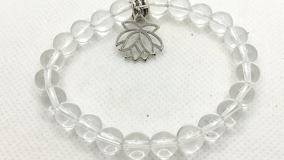 Clear Quartz 8 mm Bead Bracelet with  Lotus Charm