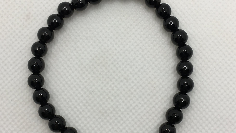 Black Agate Bracelet with 6 mm Beads