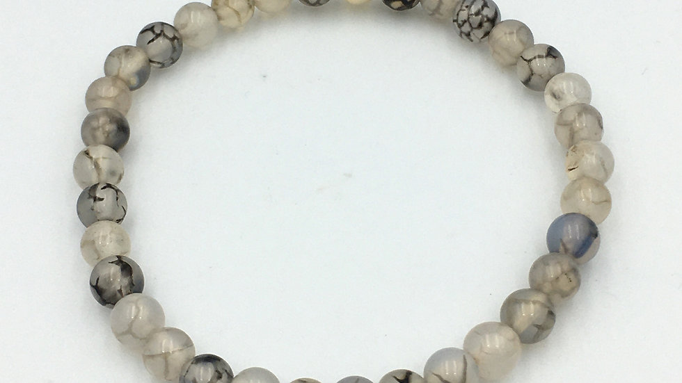Dragon Vein Agate Bracelet with 6 mm beads