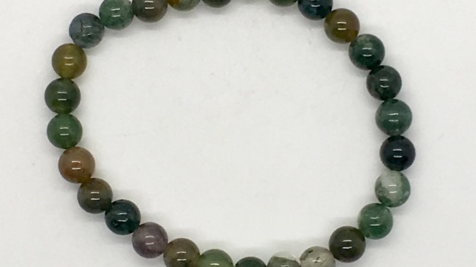 Moss Agate Bracelet with 6mm Beads