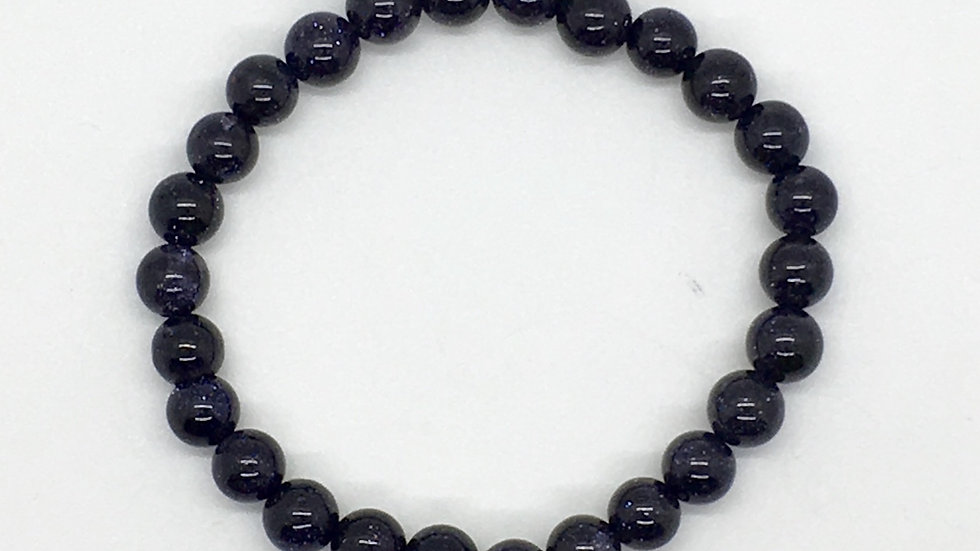 Blue Goldstone Bracelet with 8 mm beads