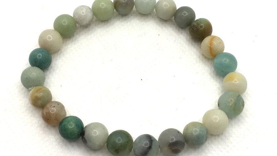 Amazonite Bracelet with 8 mm Beads (Shinier Finish)