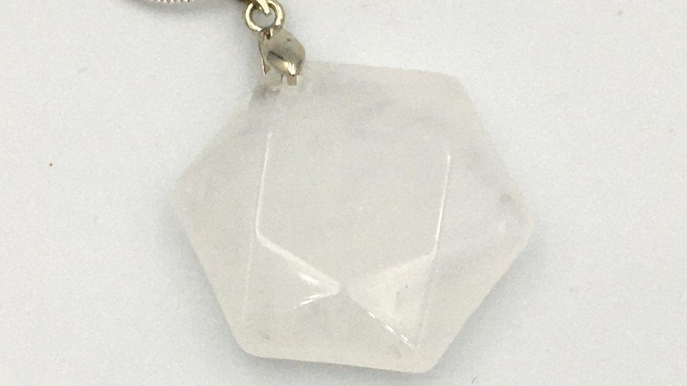 Clear Quartz Flat Hexagon Shaped Necklace