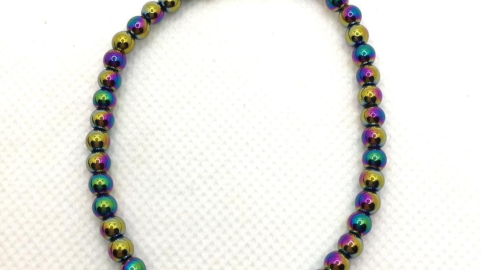 Rainbow Hematite Bracelet with 4 mm beads