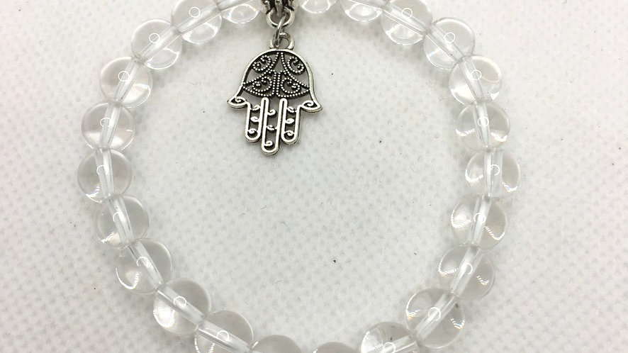 Clear Quartz 8 mm Bead Bracelet with Hamsa Hand Charm