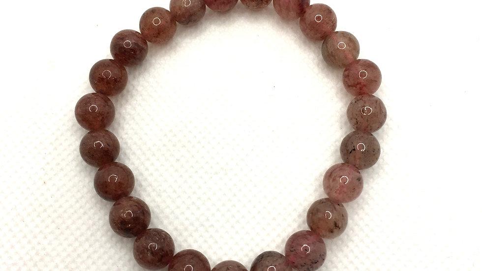 Strawberry Quartz Bracelet with 8 mm Beads