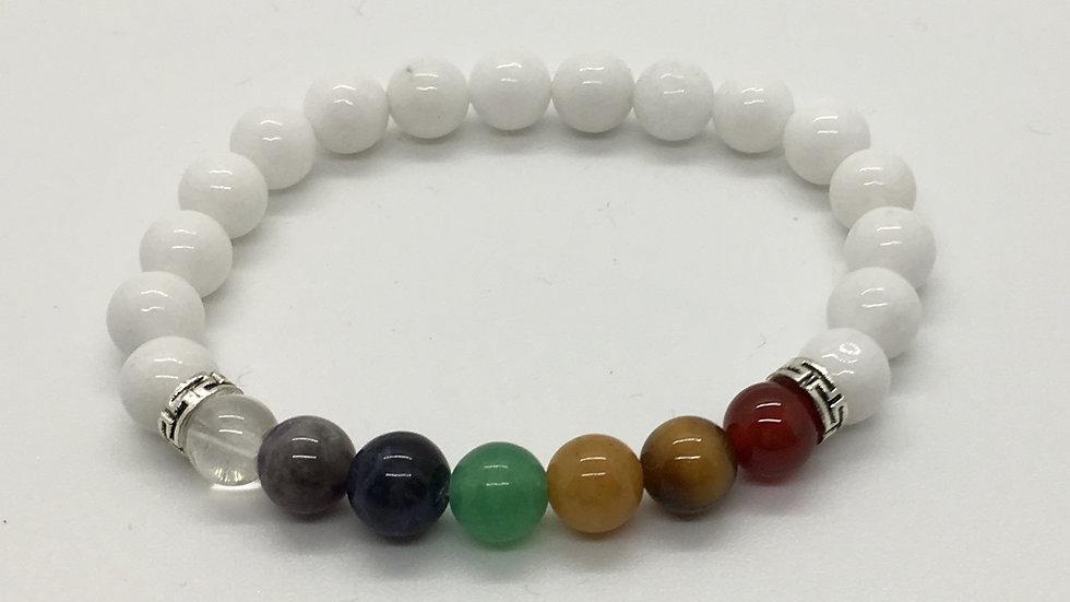 White Jade with Chakra Beads