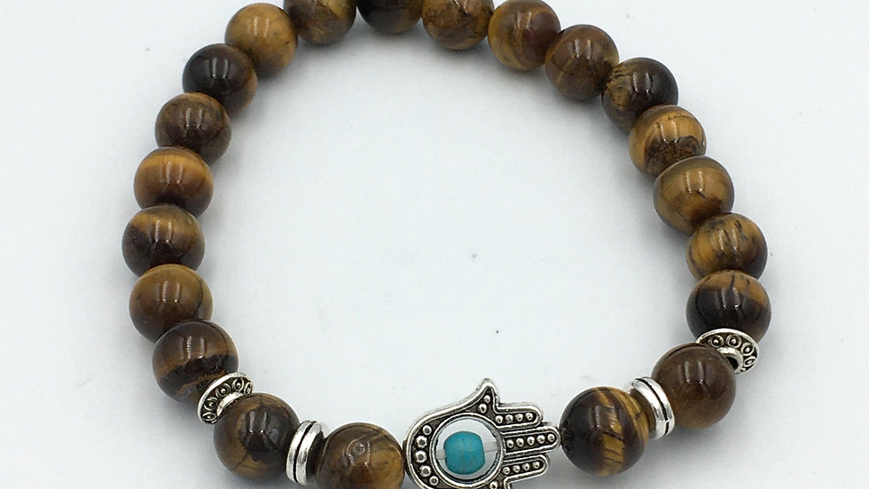 Golden Tiger Eye Bracelet with 8 mm beads and Hamsa Hand