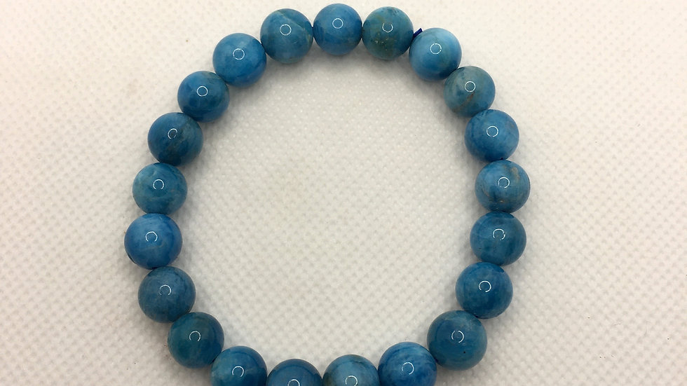 Blue Apatite Bracelet with 9 mm beads