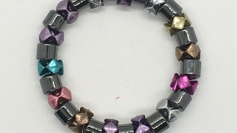 Hematite with colorful spacers