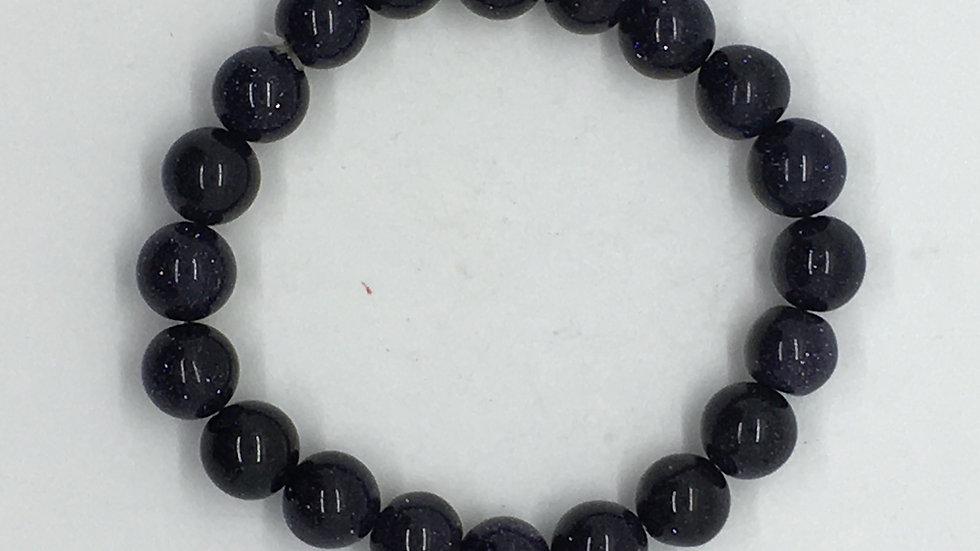 Blue Goldstone Bracelet with 10 mm Beads