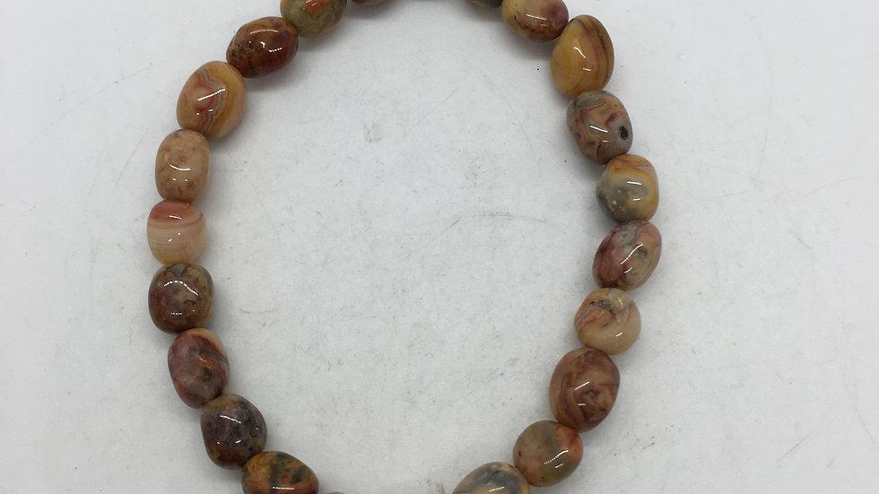 Crazy Lace Agate Bracelet with Polished Irregular Beads