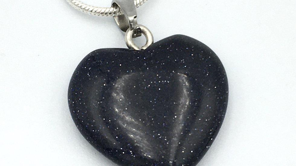 Blue Goldstone Mini Heart Shaped Necklace
