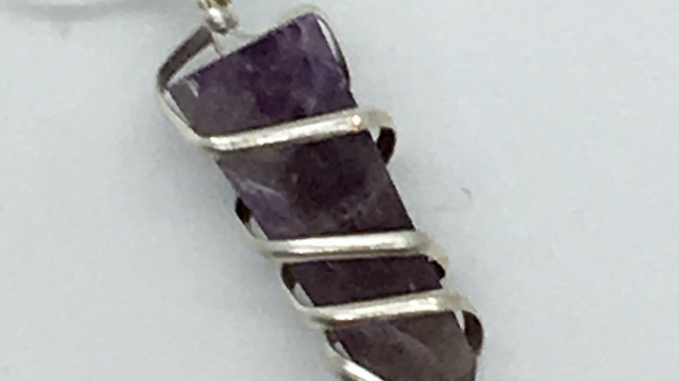 Amethyst Wire Wrapped Obelisk Necklace