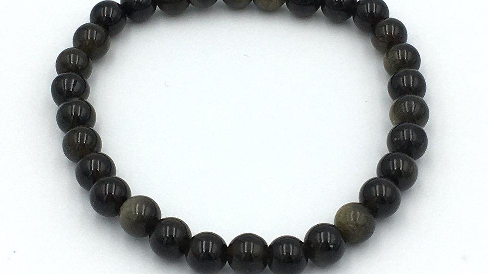 Golden Sheen Obsidian 6 mm Bead Bracelet