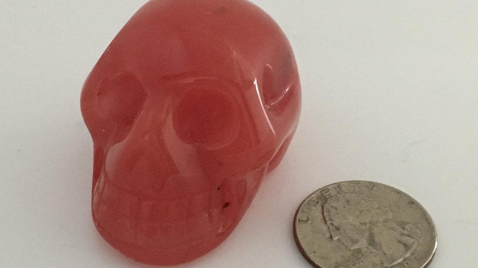 """Cherry Quartz 2"""" Skull"""