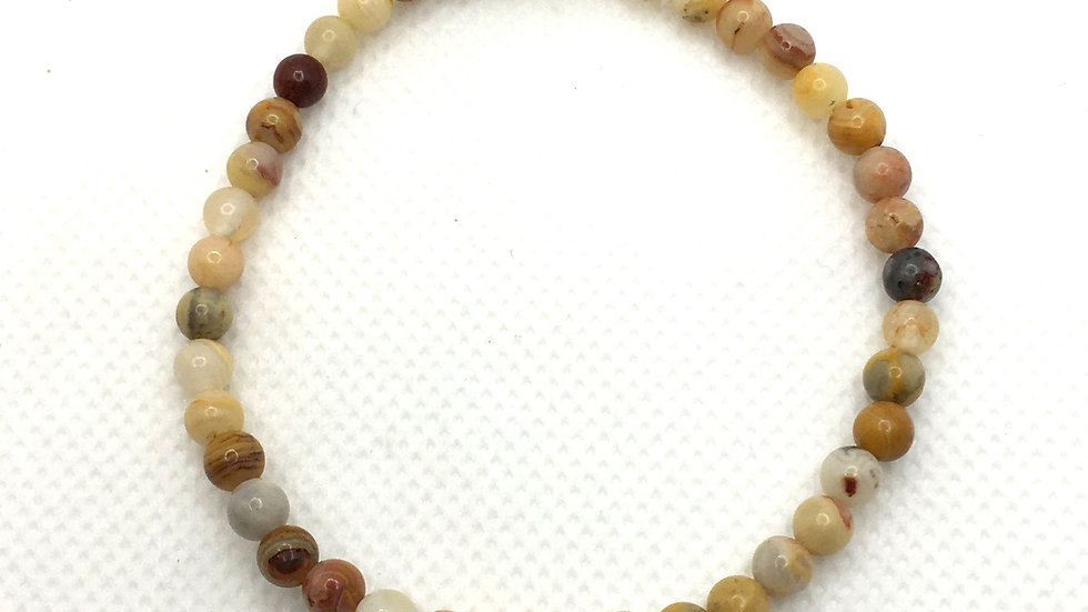 Crazy Lace Agate Bracelet with 4 mm Beads