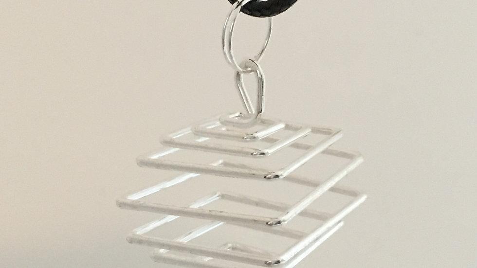 Square Silver Pendant Cage